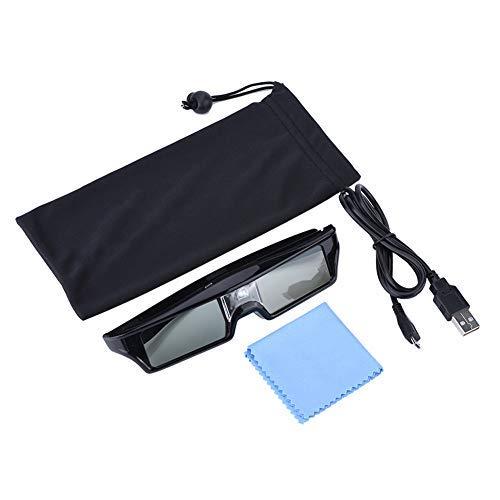 AMONIDA Excelentes Lentes Gafas 3D activas, Gafas 3D para proyector, Cine en casa Ocio y Entretenimiento Visualización de películas para el hogar