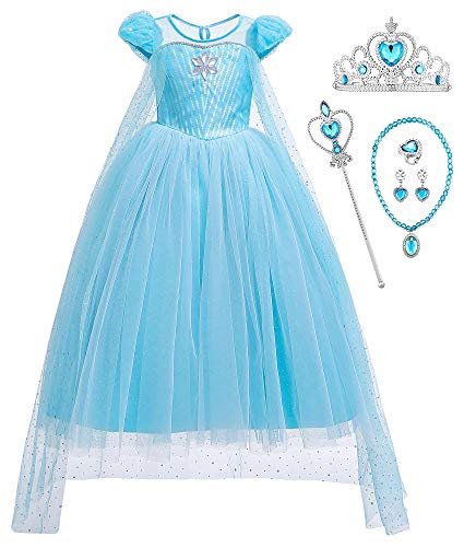 O.AMBW Cosplay Elsa Frozen 2 para Niñas Disfraces Halloween Regalo Reyes Magos Cumpleaños Navidad Disfraz Princesa Cabalgata Carnaval Disfraces y Accesorios Vestido Princesa Niña 3 a 9 años
