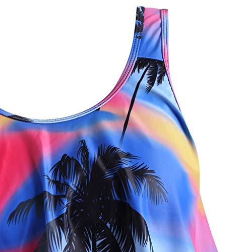 KPILP Womens Hawaiian Boho Swimsuit Two Piece High Waisted Swimwear Swimming Costume Bathing Suit Ladies Summer Beachwear Plus Size Fashion Sexy Swimsuit(Purple,XL)