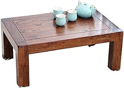 Coffee Table Living Room Bedroom Vintage Tatami Coffee Table Living Room Square Tea Table Bedroom Bedside Table Study Desk Load Bearing 230kg (Color : Brown, Size : 60 * 40 * 25cm)