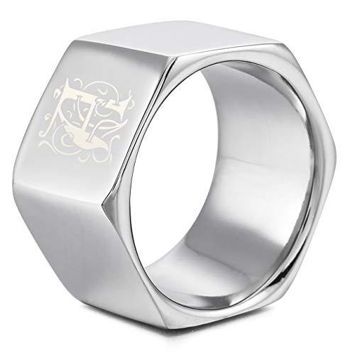 MeMeDIY El Tono De Plata Acero Inoxidable Anillo Ring Banda Venda Tuerca de Tornillo Talla Tamaño 20 - Grabado Personalizado