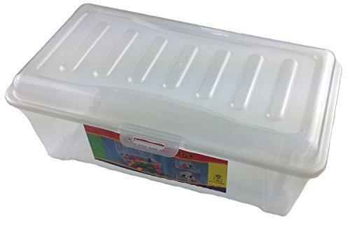 Box Boîte de Rangement avec Couvercle en Plastique Grande (L x l x h) : 32 x 19 x 12 cm