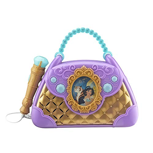 eKids Disney Aladdin Sing Along Boombox with Real Working Microphone Built in Music and Can Connect to MP3 Player, Purple