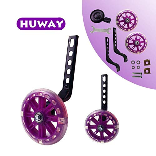 HUWAY Training Wheels Flash Mute Wheel Bicycle stabiliser Mounted Kit Compatible for Bikes of 12 14 16 18 20 Inch, 1 Pair (Purple)