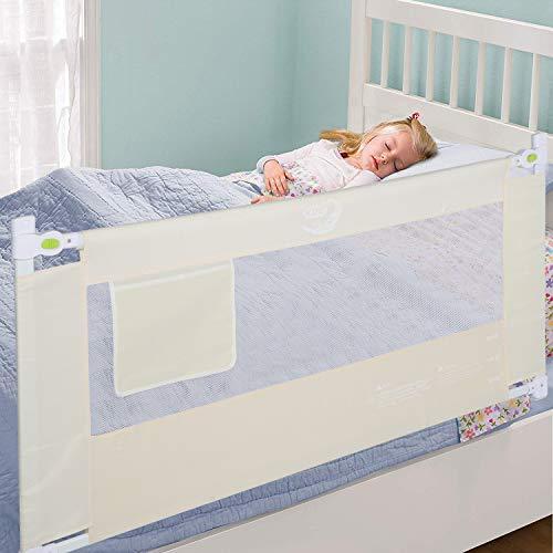 Barandilla Plegable, Barrera de Protección para Cama Infantil, Rejilla para Cuna Protección Contra Caídas Barandilla de Seguridad para Bebés Barrera de Cama Extensible 1.8m