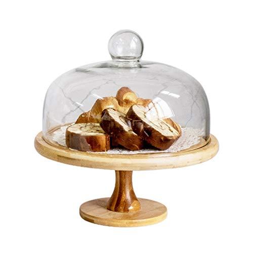 JISHIYU Soporte de pastel giratorio con cúpula de torta de cristal, soporte de pastel de madera reutilizable, plato de la porción multifuncional, bandeja de pasteles, plato de ensalada, plato, plato d