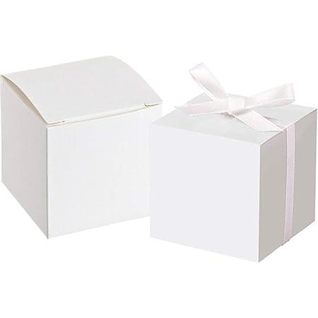 Awtlife Lot de 50 boîtes à friandises blanches avec 50 rubans pour décoration de fête de mariage 5 cm