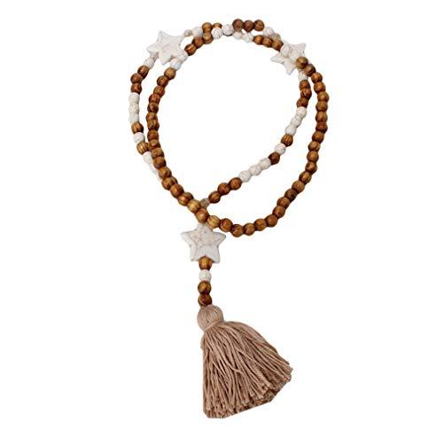 ZYYXB Weinlese Türkis runde Troddel Strickjacke Ketten Halskette böhmische Boho Handarbeit Lange Holz Korn Halskette Damen Schmuck Accessoires (Typ 4)