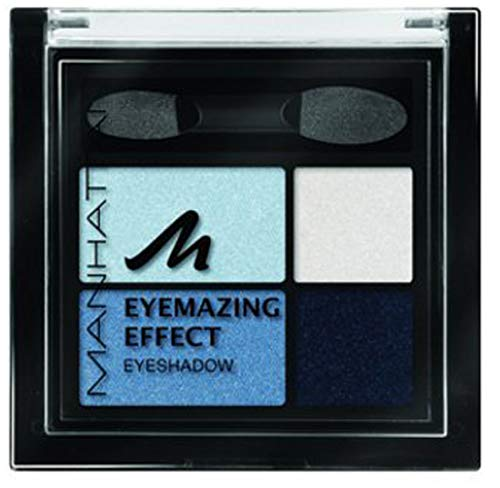 Manhattan Eyemazing Effect Eyeshadow – Schmink-Palette aus vier schimmernden Lidschatten-Farben für Smokey Eyes – Farbe Got The Blues 71W – 1 x 5g
