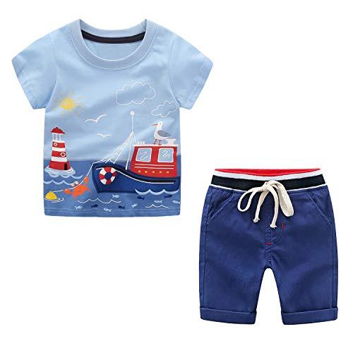 Kleinkind Jungen Shorts Set Sommerkleidung 2 Stück Kurzarm T-Shirt + Hose Baby Jungen Kleidung Sets