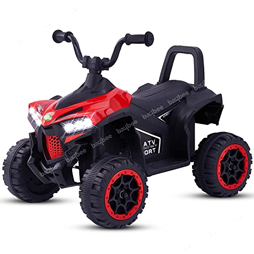 Baybee Monstro ATV Kids Car Baby Toy Car Rechargeable Battery Operated Ride on car for Kids with Electric Motor Car for Kids Cars, Baby Car for Boys & Girls Age 1-3 Years (Red)