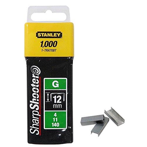 Stanley Klammern Typ G (12 mm, Klammern aus Flachdraht für Elektro- und Handtacker Typ G) 1000 Stück, 1-TRA708T