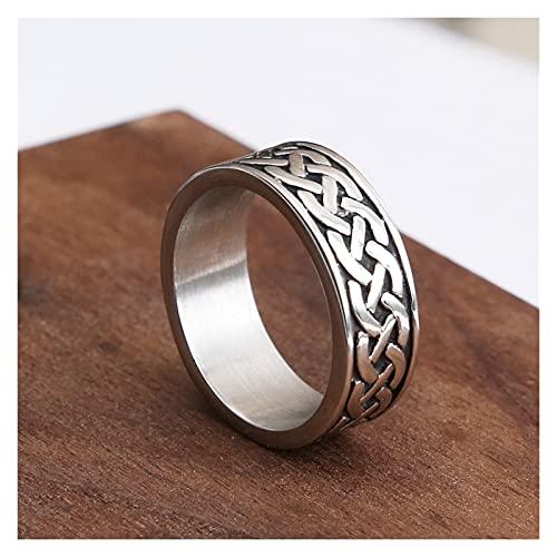 Anillos plateados para hombre Anillo de anillo de anillo de acero inoxidable de la vendimia para los hombres anular los regalos de la joyería de moda de los hombres y las mujeres Tiene una superficie