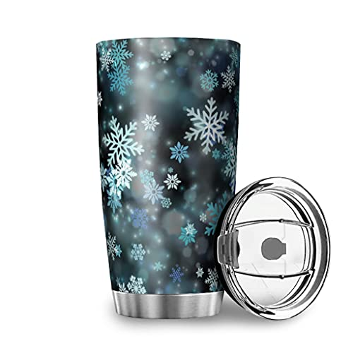 Harneeya Tumbler Colorful Snowflake Stainless Steel Coffee Tumbler Cartoon Tea Cup for Hot and Cold Drinks 20oz White 20oz