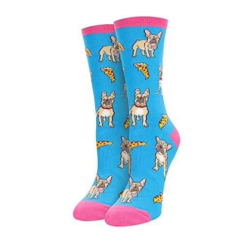 Women Girls Bulldog Socks English Bulldog Gifts I LoveBulldog Socks in Blue