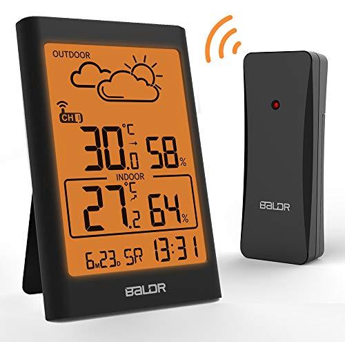 TEKFUN Wetterstation Funk mit Außensensor, Digital Thermometer Hygrometer Innen und Außen Raumthermometer Hydrometer Feuchtigkeit mit Wettervorhersage, Uhrzeitanzeige und Warmes Nachtlicht (3)