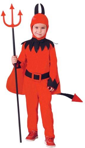 Guirca- Diavolo Costume Diavoletto per Bambini, Rosso, 5-6 Anni, 81813