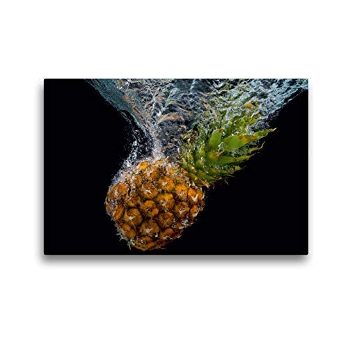CALVENDO Premium Textil-Leinwand 45 x 30 cm Quer-Format Ananas Wasser, Leinwanddruck von Gerd Matschek