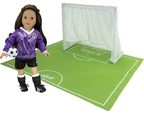 Sophia's Doll Sports Goal, Field and Ball in Mesh Bag, Perfect for 18 Inch Dolls. Net, Field and Soccer Ball Set