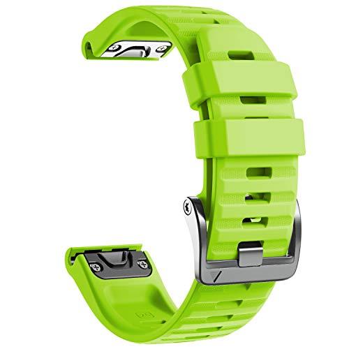 NotoCity Cinturino per Garmin Fenix 6X/Fenix 6X PRO/Fenix 3/Fenix 3 HR/5X/Fenix 5X Plus/, 26mm Cinturino di Ricambio in Silicone, Braccialetto Quick-Fit, Colori Multipli. (Verde)