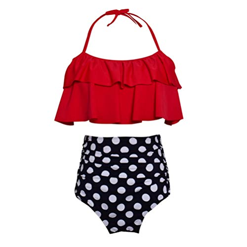 Tenycoco Badpak voor dames, hoge taille, halter, strand, badpak, ouders, kinderen, ruches en bikini set voor volwassenen en kinderen