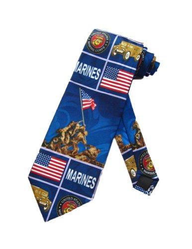 Steven Harris Mens United States Marine Necktie - Royal Blue - One Size Neck Tie