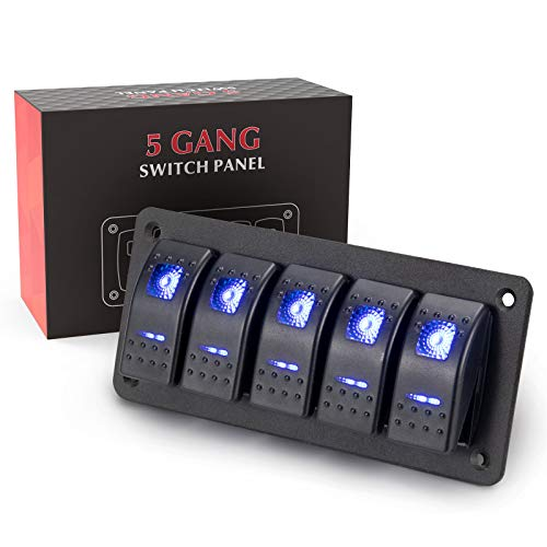 BUNKER INDUST 5 Gang Rocker Switch Aluminum Panel with Blue LED Light Waterproof 5 Pin On Off Toggle Switches for 12V/24V Marine Boat RV Truck Car ATVs