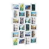 Relaxdays 10021954  Cadre photos pêle-mêle 24 photos Galerie mur cadre mural HxlxP: 59 x 86 x 2,5 cm, blanc