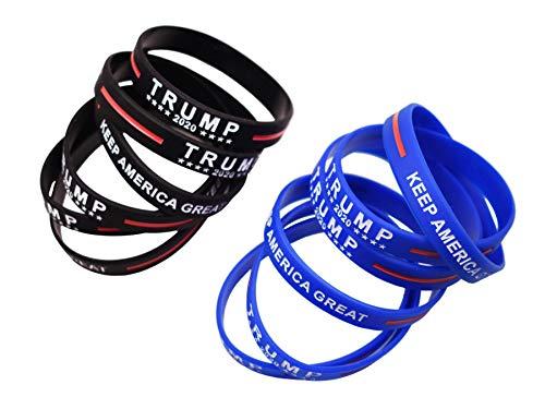 12 Pack Trump 2020 Bracelets Silicone Inspirational Motivational Wristbands