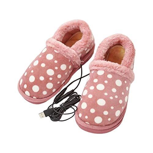 DYHQQ USB elektrisch beheizte Hausschuhe - beheizte Winter warme Schuhe für kaltes Wetter, Bequeme weiche plüschhausschuhe, um die füße warm zu halten, ideal für männer und Frauen,B,38~39