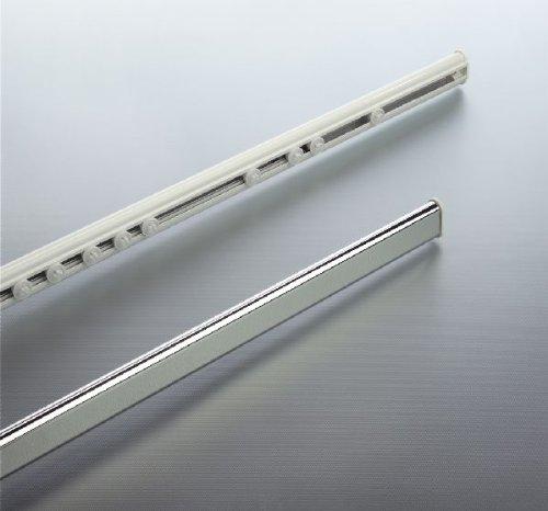 Spirella Surprise erweiterbar Duschvorhangstange Oval Profil mit Hidden Track 125cm–210cm Durchmesser 40mm x 17mm, Aluminium weiß