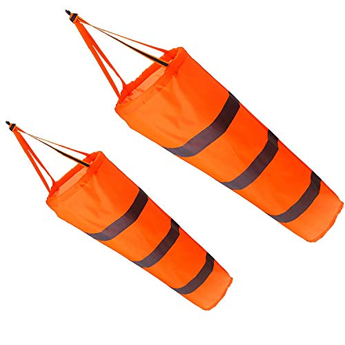BKAUK 2 StüCke 30 Zoll Windsack Wind Richtungs Messung Socken Tasche mit Reflektierendem GüRtel für Au?En Airport Farm & Park