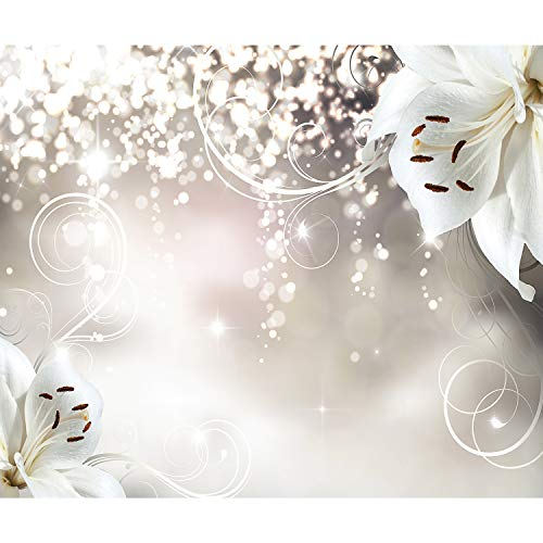 decomonkey | Fototapete Blumen Lilien Abstrakt 350x256 cm XL | Tapete | Wandbild | Wandbild | Bild | Fototapeten | Tapeten | Wandtapete | Wanddeko | Wandtapete | Orchidee weiß Abstrakt beige