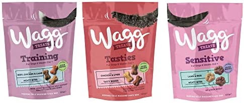 Wagg Dog Treats Bundle 3 Varieties – Training with Beef Chicken & Lamb, Tasties with Chicken Liver, Sensitive with Lamb & Rice 125g (one pack of each) – Dogs Corner