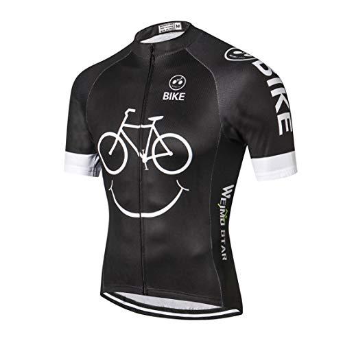 Weimostar MTB Trikot Herren Radtrikot Kurzarm Bike Tops Mountain Road Kleidung Fahrradhemden Sommer Pro Team Rennrad Trikot für Herren Atmungsaktiv weiß schwarz Größe XL