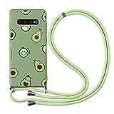 ZhuoFan Funda con Cuerda para Samsung Galaxy S7 Edge [5.5'] Verde Dibujos Carcasa de Silicona Suave Case con Colgante Cordon Colgar Correa de Cuello - Largo 160cm, Anti-rasguños Bumper Cover