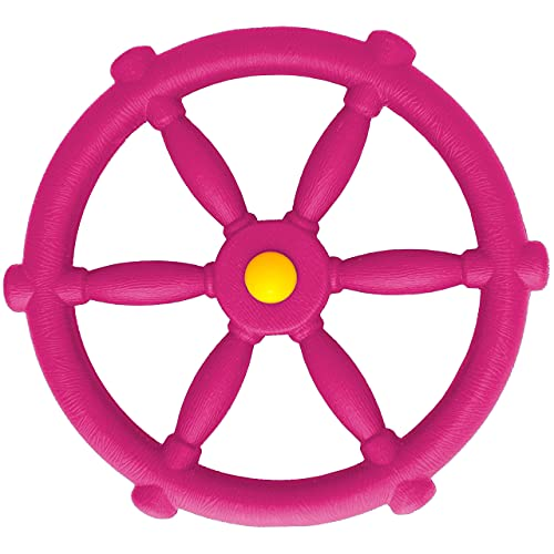 Jungle Gym Kingdom Playground Accessories - Pirate Ship Wheel for Kids Outdoor Playhouse, Treehouse, Backyard Playset Or Swingset - Wooden Attachments Parts (Pink)