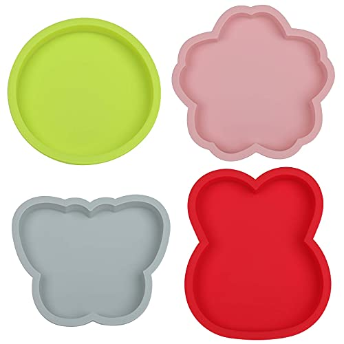 6 Inth Silicone Cake Molds Baking Bakeware Pan, Rabbit & Flower & Butterfly & Round Shapes Cake Baking Pans (4pack)