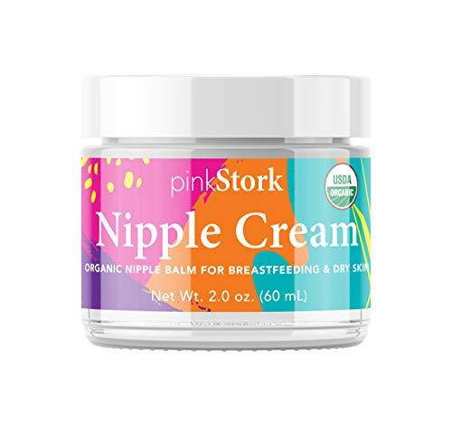 Pink Stork Nipple Cream: USDA Organic, Jojoba Oil + Coconut Oil + Shea Butter, Lanolin Free, Heals Cracks + Pains,...