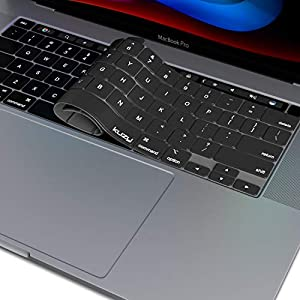 Kuzy - MacBook Pro 16 inch Case 2019 Release A2141 with Keyboard Cover Skin for New 16 inch MacBook Pro Case with Touch Bar Soft Touch Plastic Hard Shell - Black