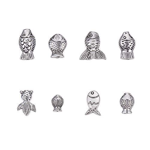 PandaHall Elite alrededor de 80 cuentas de aleación de estilo tibetano de plata envejecida espaciadora de peces para fabricación de joyas