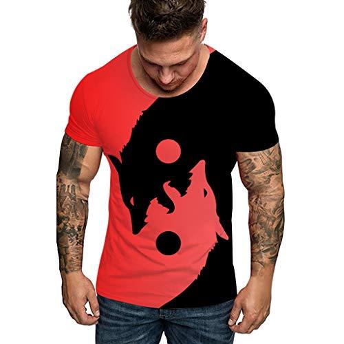 serliy😛Herren Komisch 3D Print Oansatz Kurzarm T-Shirt Männer Frühling Sommer T-Shirt mit Print Lose Rundhals & Tailliert Mode Oberteile Kleidung Bluse Tops