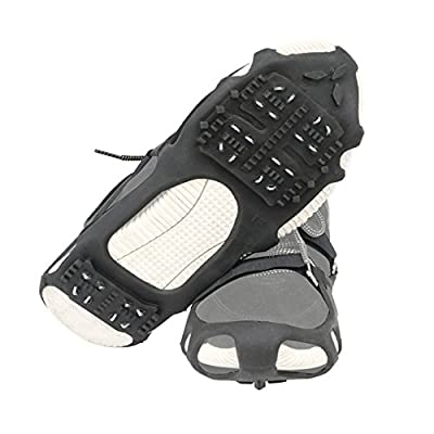 1 Pair of 24 Teeth Ice Snow Grips Grippers Anti-Slip Lite Duty Serious Walk Traction Cleats with 2 Removable Straps (L(Men:10.5-13/EU:44-47))