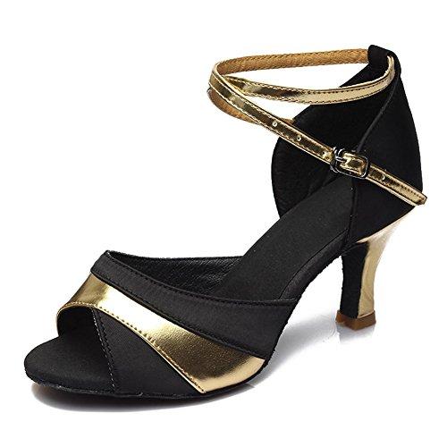 HROYL Damen Tanzschuhe/Latin Dance Schuhe Satin Ballsaal Modell-D7-806 Gold 36 EU - 2