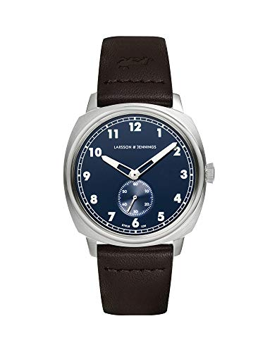 Larsson & Jennings Meridian Unisex Herren & Damen Uhren with 38mm Navy Blue dial and Leather Strap ME38-LBR-SN.