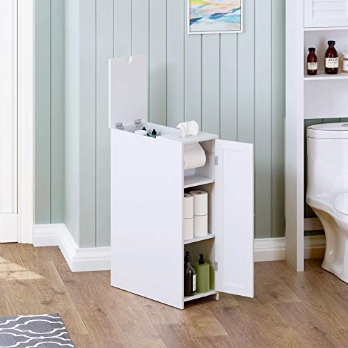UTEX Slim Bathroom Toilet Paper Storage Cabinet with Rolling Toilet Paper Holder, Free Standing Toilet Paper Holder, Bathroom Cabinet 9' W x 30' H x 20' D,White