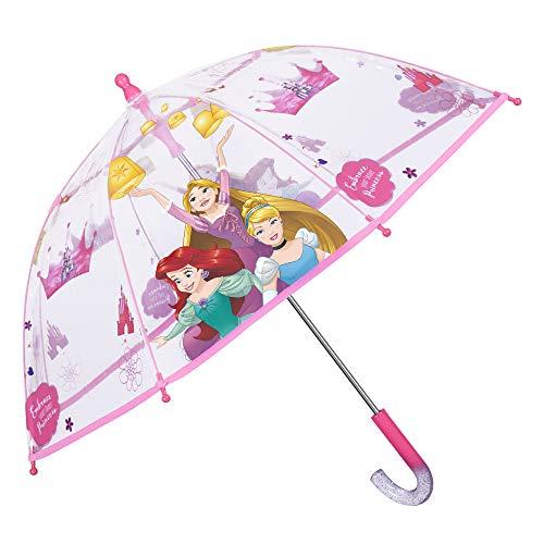 Ombrello Trasparente Principesse Disney Bambina - Ombrello Cupola Bimba Rosa con Stampa Rapunzel Ariel Cenerentola - Antivento in Fibra di Vetro - Apertura di Sicurezza - 3/5 Anni - Ø 64 cm - Perletti