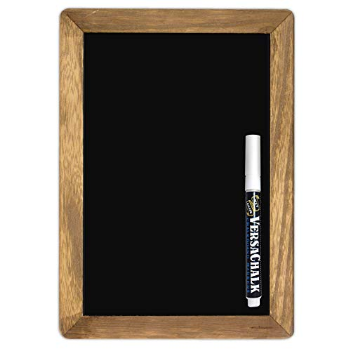"""Rustic Framed Wall Mounted Steel Chalkboard Sign (7""""x10"""") Magnetic With Wooden Frame Both Sides Writable"""