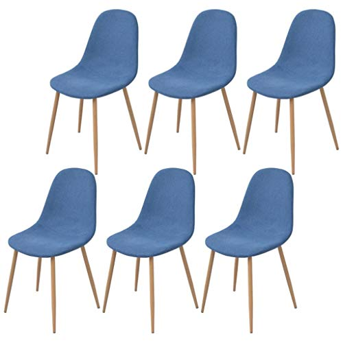 FAMIROSA Sillas de Comedor 6 Unidades Tela azul-4366