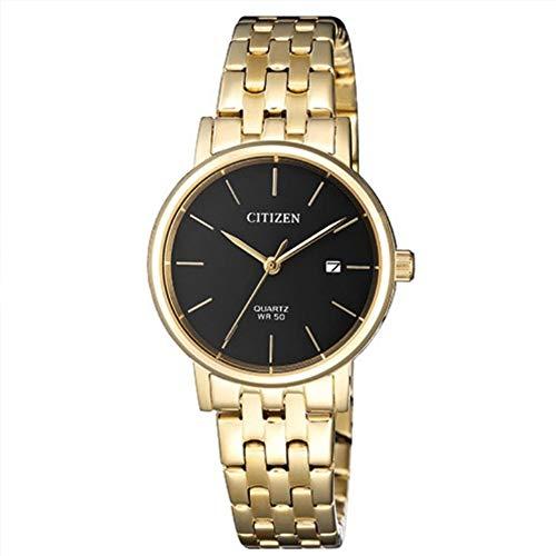 Citizen Reloj de cuarzo con esfera negra para mujer de acero inoxidable en tono dorado EU6092-59E